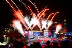 Los fuegos artificiales visualizan durante NDP 2009 Imagen de archivo libre de regalías