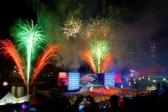 Los fuegos artificiales visualizan durante NDP 2009 Imagen de archivo