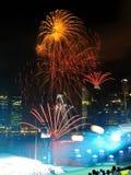 Los fuegos artificiales visualizan durante NDP 2011 imagenes de archivo