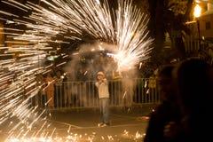 Los fuegos artificiales visualizan en Loja Ecuador. Imagen de archivo libre de regalías