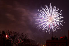 Los fuegos artificiales visualizan en Noche Vieja Fotos de archivo