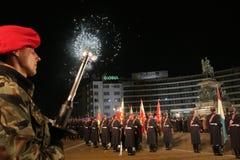 Los funcionarios, el pueblo personal y militar participan en la celebración para el día nacional de Bulgaria - el día de la liber imágenes de archivo libres de regalías