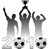 Los futbolistas celebran fútbol de 2010 estaciones Imagen de archivo libre de regalías