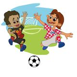 Los futbolistas de los niños juegan la bola en el estadio ilustración del vector