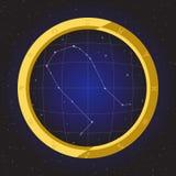 Los géminis protagonizan el zodiaco del horóscopo en telescopio del ojo de pescados con el fondo del cosmos Imágenes de archivo libres de regalías