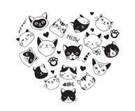 Los gatos aman, colección de iconos del vector, los ejemplos dibujados mano con el corazón libre illustration