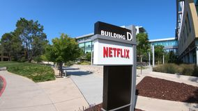 Netflix Los Gatos California. Los Gatos, CA, United States - August 12, 2018: Netflix Headquarters in Silicon Valley. Netflix entertainment service provider for stock video
