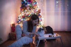 Los gatos de las ayudas de la muchacha escriben una letra a Papá Noel Imagenes de archivo