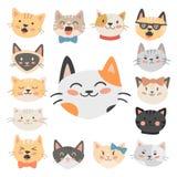 Los gatos dirigen el animal doméstico de moda nacional felino de los caracteres decorativos divertidos animales lindos del ejempl ilustración del vector