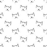 Los gatos resumen el modelo inconsútil simple en el fondo blanco Fotos de archivo