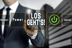 Los gehts (in german Here we go) touchscreen concept background Stock Photo