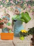Los gemelos de las muchachas de tres años cuidan para las flores, Fotos de archivo libres de regalías