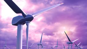 Los generadores de viento cultivan contra un lazo púrpura del cielo ilustración del vector