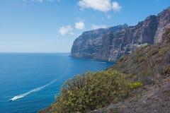 Los Gigantes峭壁的看法从Mirador Puerto de los Gigan的 库存图片