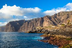 Los Gigantes峭壁。 特内里费岛。 西班牙 图库摄影