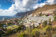 Los Gigantes,Spain - 19 March 2015:The town and harbour seen fro Royalty Free Stock Image