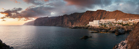 Los Gigantes, Tenerife. Canary Islands, at sunset. Taken from Puerto Santiago Royalty Free Stock Photography