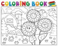 Los girasoles del libro de colorear acercan a la granja Foto de archivo
