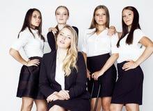 Los glücklicher lächelnder feiernder Erfolg der Geschäftsfrauen des Teamsieges auf Arbeit, Kleiderordnungsschwarzweiss-Beamter stockfotografie
