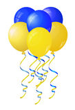 Los globos amarillos y azules brillantes estilizaron la bandera de Ucrania Imágenes de archivo libres de regalías