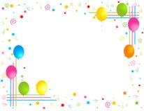 Los globos coloridos confinan/marco del partido Foto de archivo