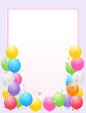 Los globos coloridos confinan/marco del partido ilustración del vector