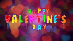 Los globos de la tarjeta del día de San Valentín multicolora vuelan para arriba en BG