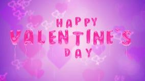 Los globos del día de tarjeta del día de San Valentín vuelan en el contexto púrpura