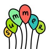 Los globos del verano dan la línea colorida exhausta arte del ejemplo libre illustration