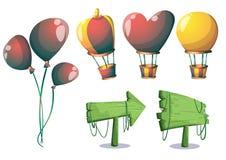 Los globos lindos del vector de la historieta se oponen con las capas separadas para el arte y la animación del juego Foto de archivo
