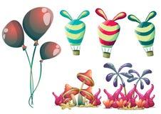 Los globos lindos del vector de la historieta se oponen con las capas separadas para el arte y la animación del juego Imagenes de archivo
