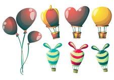 Los globos lindos del vector de la historieta se oponen con las capas separadas para el arte y la animación del juego Fotografía de archivo libre de regalías