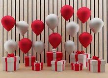 Los globos rojos y blancos con la caja de regalo en 3D rinden imagen Foto de archivo