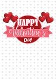 Los globos rosados en forma de corazón que llevan a cabo un círculo firman con una cinta rosada con el mensaje Valentine& feliz x ilustración del vector