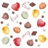 Los globos son rojos y oro, ronda y en forma de corazón y las melcochas, chocolate Fondo del vector para el día del ` s de la tar libre illustration