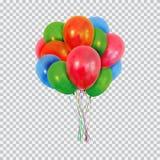 Los globos verdes y azules rojos del helio fijaron aislado en fondo transparente Fotos de archivo