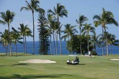 Los golfistas no identificados disfrutan de un juego del golf foto de archivo libre de regalías