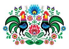 Bordado de flores polaco con los gallos - modelo popular tradicional
