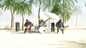 Los gorilas y los monos divertidos juegan en la guitarra y los tambores Partido de la roca en la playa soleada Animación realista libre illustration