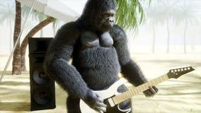 Los gorilas y los monos divertidos juegan en la guitarra y los tambores Partido de la roca en la playa soleada Animación realista ilustración del vector