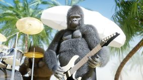 Los gorilas y los monos divertidos juegan en la guitarra y los tambores Partido de la roca en la playa soleada Animación realista stock de ilustración