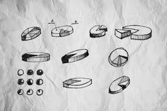Los gráficos circulares y el otro dibujo del infographics Imágenes de archivo libres de regalías