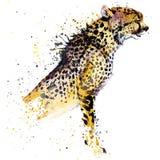Los gráficos de la camiseta del guepardo, ejemplo africano del guepardo de los animales con la acuarela del chapoteo texturizaron