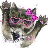 Los gráficos divertidos de la camiseta del gato negro, ejemplo del gato negro con la acuarela del chapoteo texturizaron el fondo Fotos de archivo