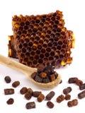 Los gránulos del pan de la abeja y un pedazo de células de la miel se aíslan en un fondo blanco Remedio natural para el aumento d Imagen de archivo libre de regalías