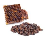 Los gránulos del pan de la abeja y un pedazo de células de la miel se aíslan en un fondo blanco Remedio natural para el aumento d Foto de archivo