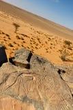 Los grabados de la roca acercan al lecho de un río seco Mathendous (la UNESCO) Foto de archivo libre de regalías