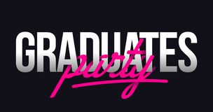 Los graduados van de fiesta las letras de la mano del título stock de ilustración
