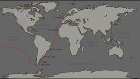 Los grandes viajes el mundo - Ferdinand Magellan ilustración del vector