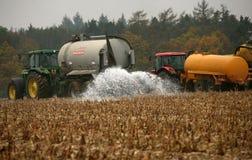 Los granjeros checos ordeñan protesta Fotografía de archivo libre de regalías